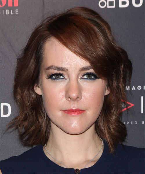 Jena Malone Medium Wavy Casual   Hairstyle   - Medium Brunette