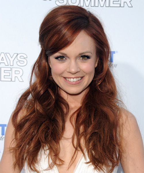 Rachel Boston Half Up Long Curly Casual  Half Up Hairstyle
