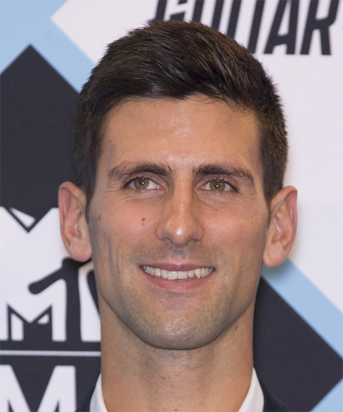 Novak Djokovic Short Straight Dark Brunette Hairstyle