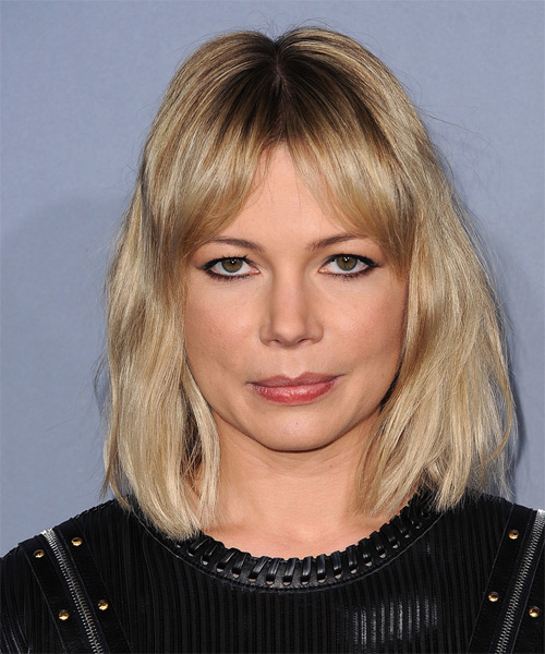 Michelle Williams Medium Straight Casual    Hairstyle with Layered Bangs  -  Blonde Hair Color