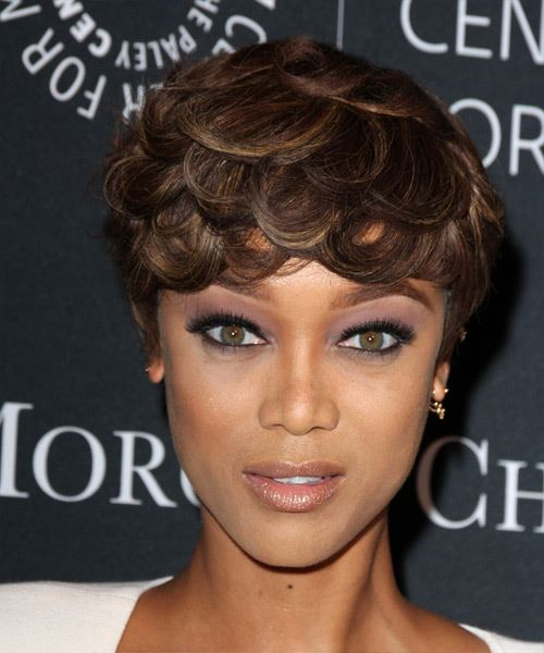 Tyra Banks Short Straight Formal    Hairstyle   - Dark Brunette Hair Color