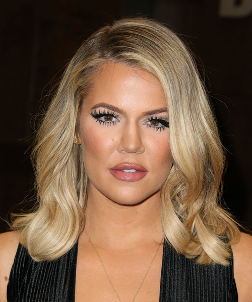 Khloe Kardashian Medium Wavy Casual   Hairstyle   - Medium Blonde