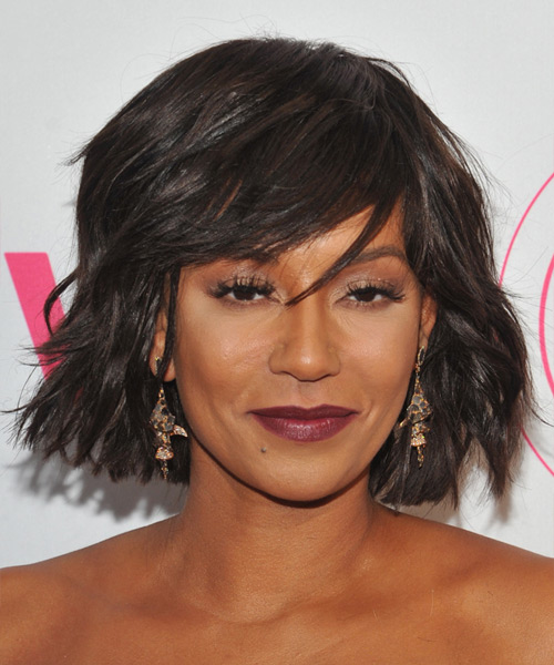 Mel B Medium Straight Casual   Hairstyle with Side Swept Bangs  - Dark Brunette
