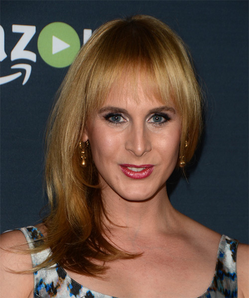 Zackary Drucker Long Straight Formal   Hairstyle with Layered Bangs  - Medium Blonde