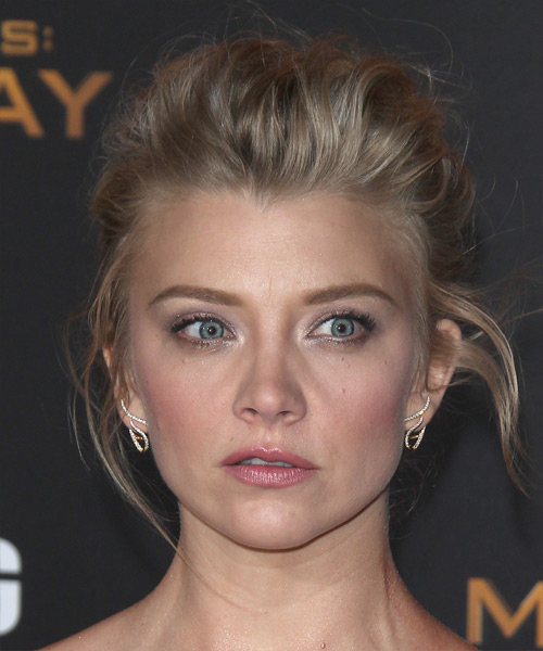 Natalie Dormer Long Wavy Formal Updo Hairstyle Dark Ash