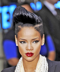 Rihanna Short Straight Alternative  Undercut  Hairstyle   - Black  Hair Color