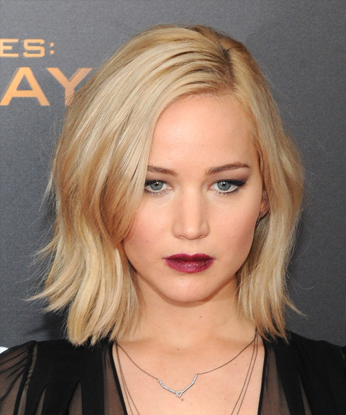 Jennifer Lawrence Medium Straight    Golden Blonde   Hairstyle