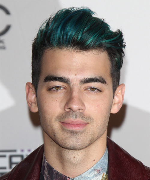 Joe Jonas Short Straight Casual Hairstyle Green Hair Color