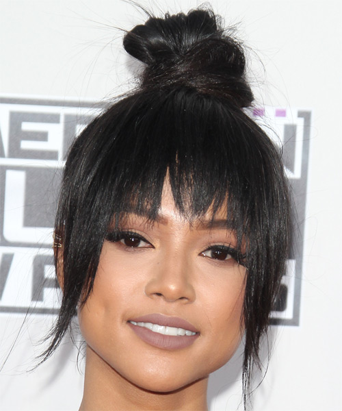 Karrueche Tran Long Straight   Black   Updo  with Razor Cut Bangs