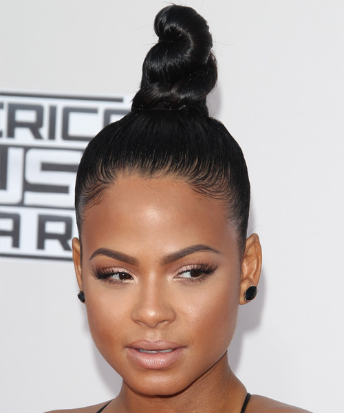 Christina Milian Long Straight Formal  Updo Hairstyle   - Black