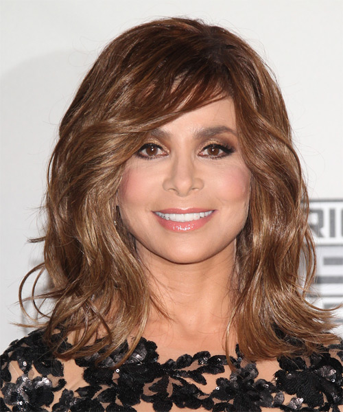 Paula Abdul Medium Wavy Casual   Hairstyle with Side Swept Bangs  - Medium Brunette (Chestnut)