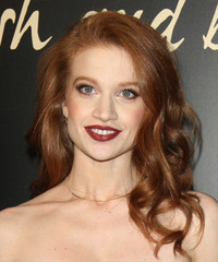 Sarah Hay Long Wavy Formal    Hairstyle   - Light Ginger Red Hair Color