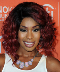 Porscha Coleman Medium Wavy Casual Layered Bob  Hairstyle   - Dark Red Hair Color