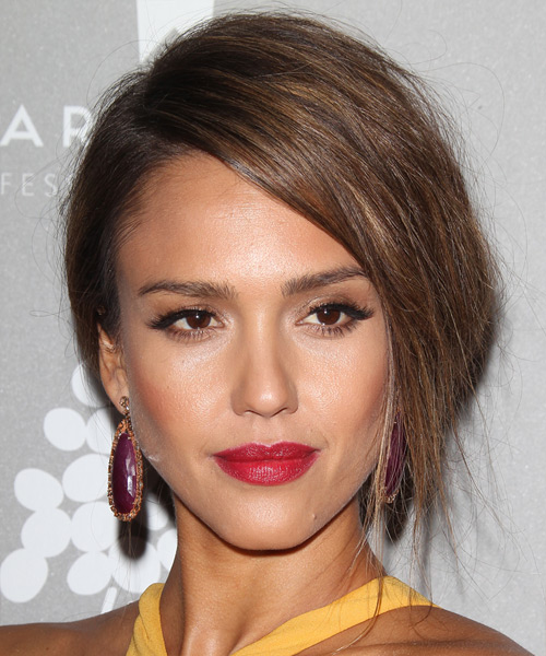 Jessica Alba Long Straight Formal Wedding Updo Hairstyle   - Medium Brunette