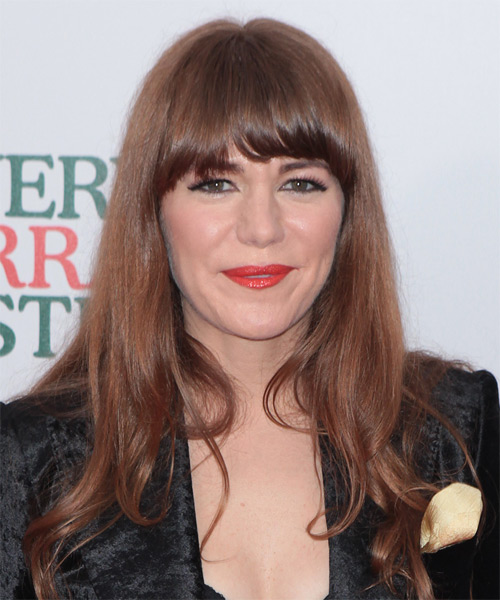 Jenny Lewis Long Straight Casual   Hairstyle with Blunt Cut Bangs  - Medium Brunette