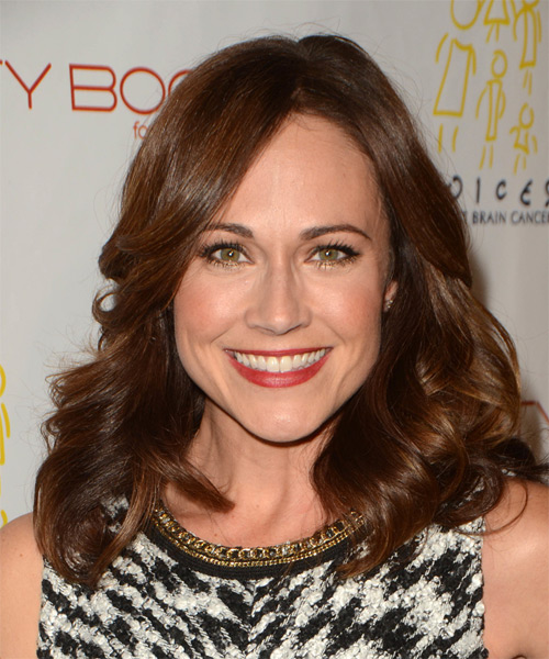 Nikki DeLoach Medium Wavy Formal    Hairstyle   -  Auburn Brunette Hair Color