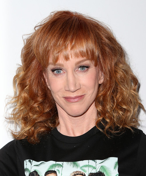 Kathy Griffin Medium Curly Casual    Hairstyle with Layered Bangs  -  Ginger Red Hair Color