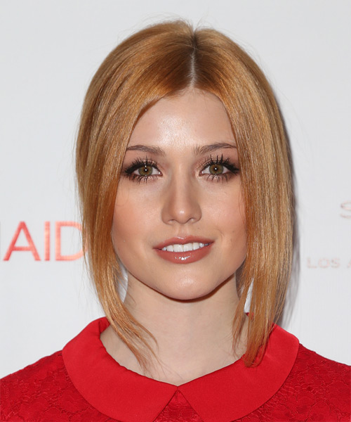 Katherine McNamara Long Straight Formal Wedding Updo Hairstyle   - Light Red (Copper)