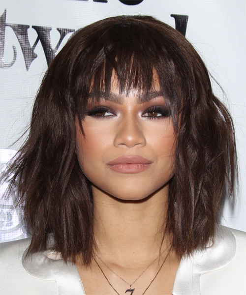 Zendaya Coleman Medium Straight Casual   Hairstyle with Razor Cut Bangs  (Chocolate)
