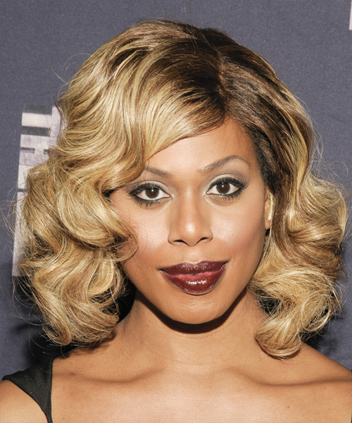 Laverne Cox Medium Wavy Formal   Hairstyle   - Light Brunette (Caramel)
