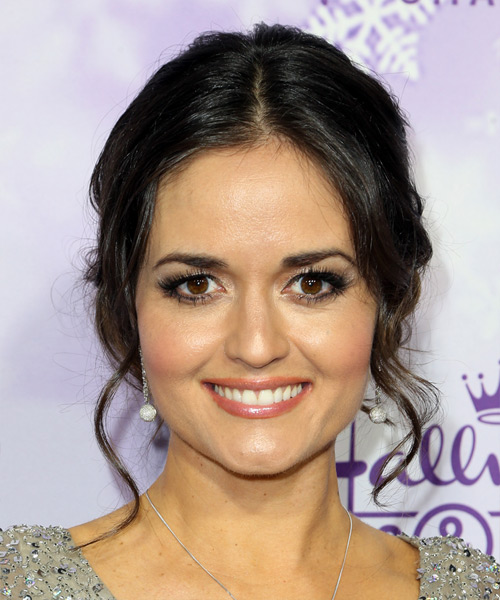 Danica McKellar Long Curly Formal   Updo Hairstyle   - Dark Brunette Hair Color