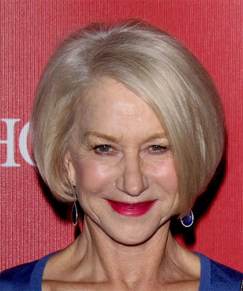 Helen Mirren Medium Straight   Light Blonde Bob  Haircut