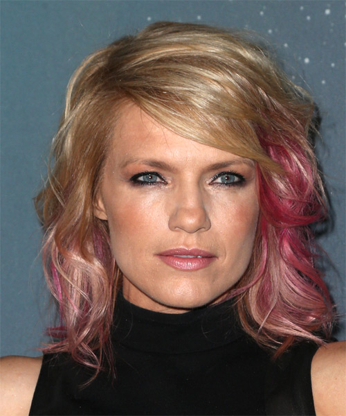 Kathleen Rose Perkins Medium Wavy    Blonde and Pink Two-Tone   Hairstyle with Side Swept Bangs