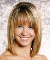 Medium Straight Casual    Hairstyle with Layered Bangs  - Dark Blonde Hair Color