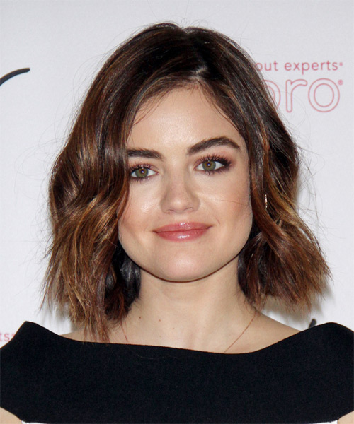 Lucy Hale Medium Wavy Casual Bob  Hairstyle