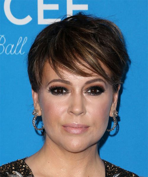 Alyssa Milano Short Straight Formal   Hairstyle