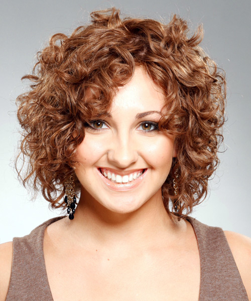 Medium Curly Casual   Hairstyle   - Light Brunette