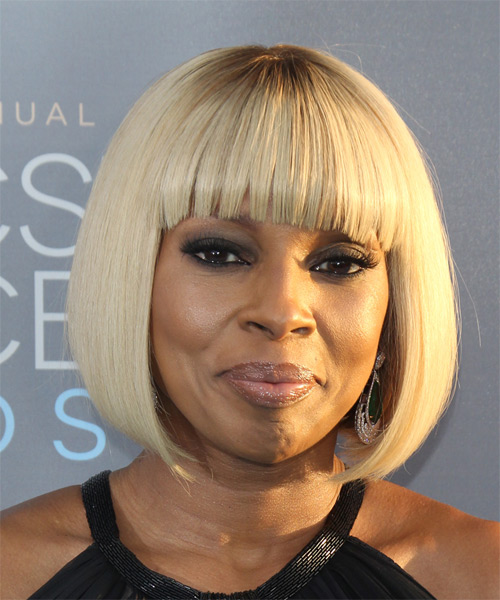 Mary J Blige Medium Straight Pageboy Bob Hairstyle