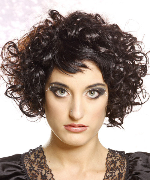 Short Curly Casual   Hairstyle with Asymmetrical Bangs  - Black
