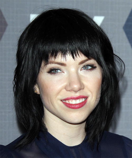 Carly Rae Jepsen Medium Straight Casual  Shag  Hairstyle with Razor Cut Bangs  - Black  Hair Color