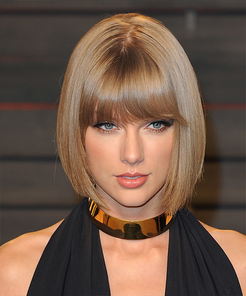 Taylor Swift Medium Straight Formal Bob  Hairstyle with Blunt Cut Bangs  - Dark Blonde