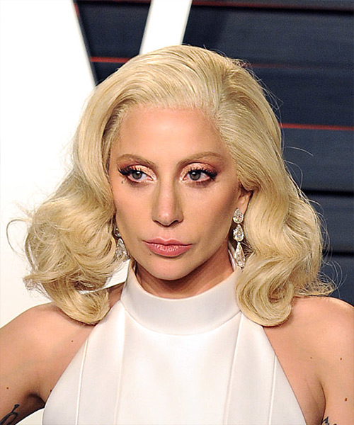 Lady GaGa Medium Wavy Platinum Blonde Bob hairstyle