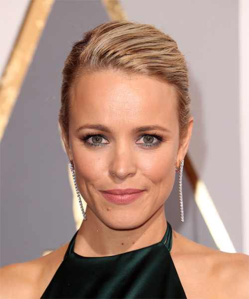 Rachel McAdams Long Straight Formal   Updo Hairstyle with Side Swept Bangs  - Medium Blonde Hair Color with Light Blonde Highlights