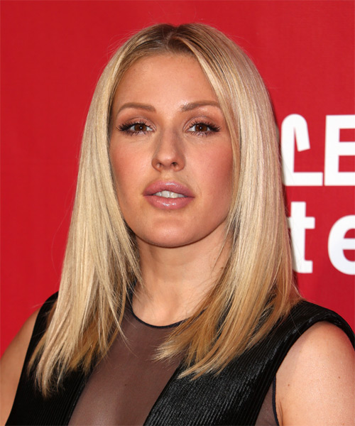 Ellie Goulding Long Straight Formal Bob  Hairstyle   - Light Blonde (Platinum)