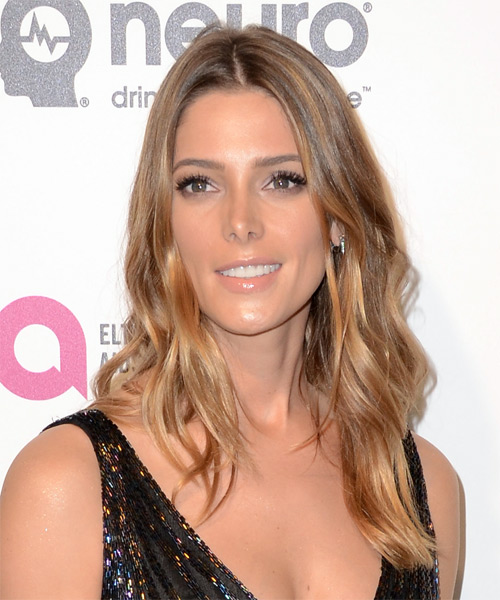 Ashley Greene Long Wavy Casual    Hairstyle   - Light Honey Brunette Hair Color with Dark Blonde Highlights