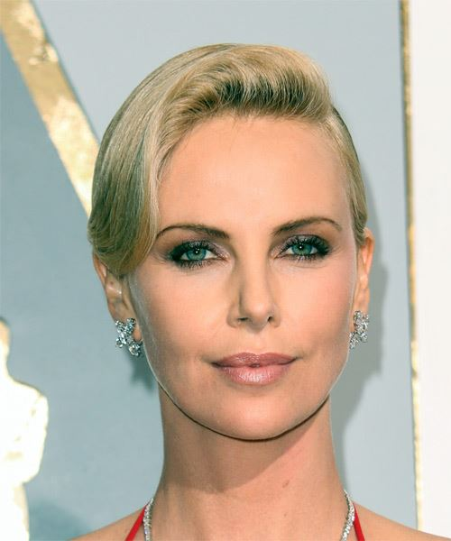 Charlize Theron Hollywood vintage look with a deep side part and waved front sectio