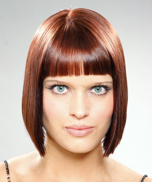 Medium Straight Casual  Bob  Hairstyle with Blunt Cut Bangs  -  Mahogany Brunette Hair Color