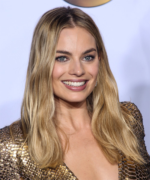 Margot Robbie Long Wavy Formal    Hairstyle   -  Honey Blonde Hair Color