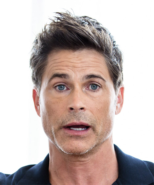 Rob Lowe Short Straight Formal   Hairstyle with Razor Cut Bangs  - Medium Brunette