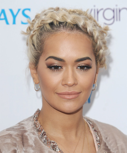 Rita Ora Long Curly Casual  Braided Updo Hairstyle   - Light Honey Blonde Hair Color