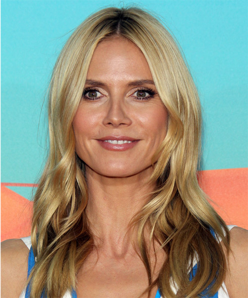 Heidi Klum Long Straight Formal Hairstyle Light Honey