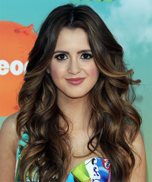 Laura Marano Long Wavy   Dark Brunette   Hairstyle   with  Brunette Highlights