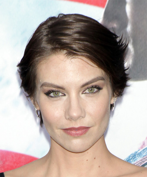Lauren Cohan Short Straight Casual  Shag  Hairstyle with Side Swept Bangs  - Dark Brunette Hair Color