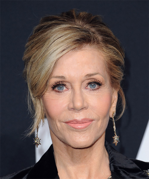 Jane Fonda Medium Straight   Light Brunette  Updo  with Side Swept Bangs  and Light Blonde Highlights