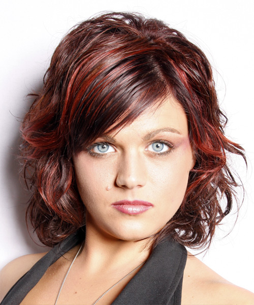 Medium Wavy Casual   Hairstyle with Side Swept Bangs  - Dark Red