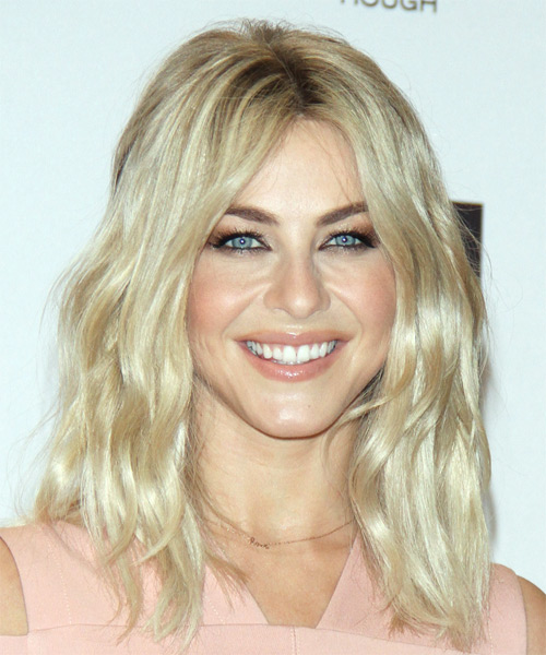 Julianne Hough Long Wavy Casual Bob  Hairstyle   - Light Blonde (Platinum)